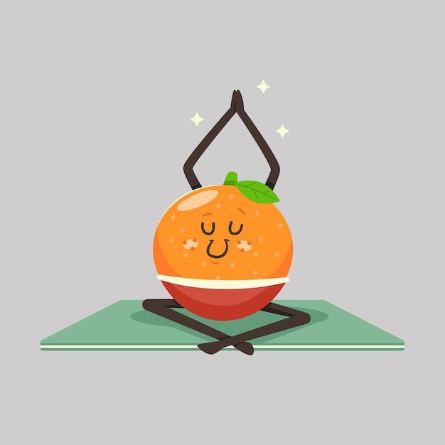 요가 포즈에 귀여운 만다린 아이. 배경에 재미있는 과일 캐릭터. 건강하고 건강하게 먹기. 프리미엄 벡터