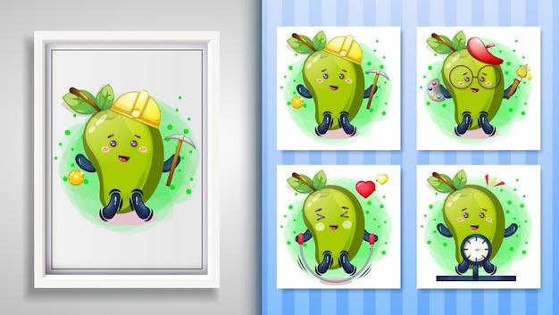 Cute mango illustration set and decorative frame. Premium Vector