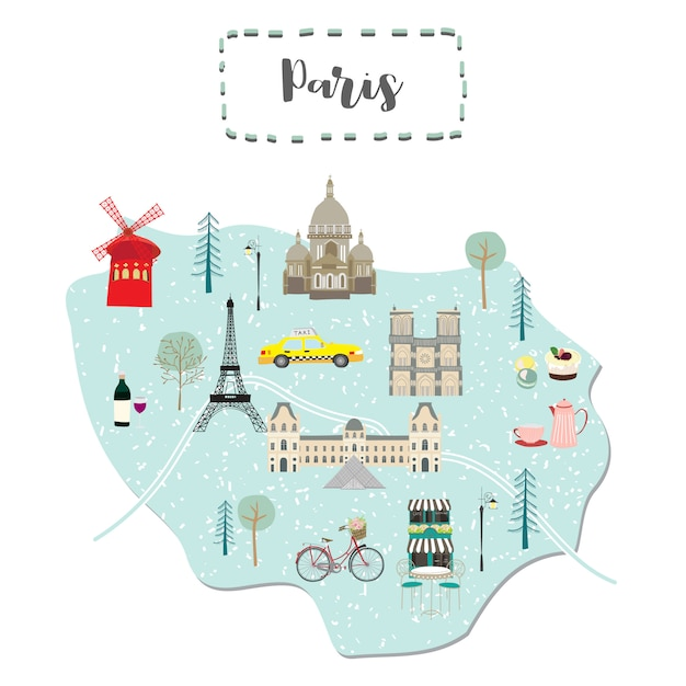 Paris On Map Of France.Cute Map Of Paris In France Vector Premium Download