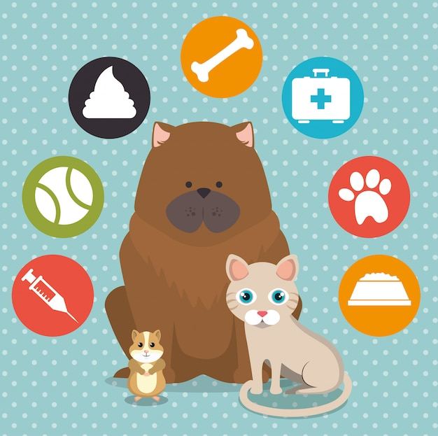 Cute mascots and pet shop icons Free Vector