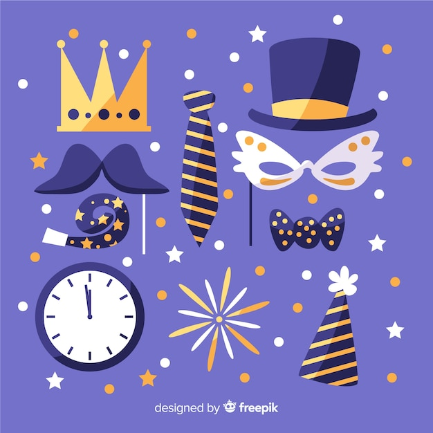 Cute masks for happy new year party Free Vector