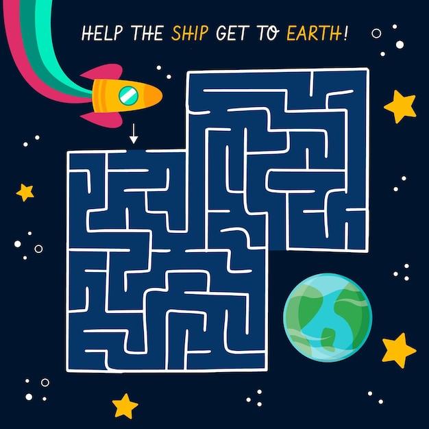 Милый лабиринт для детей с космосом Бесплатные векторы