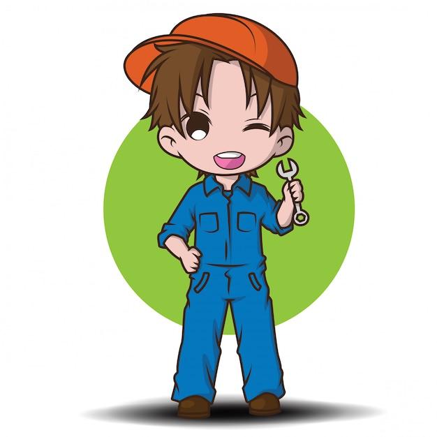 Cute mechanic cartoon character. Premium Vector