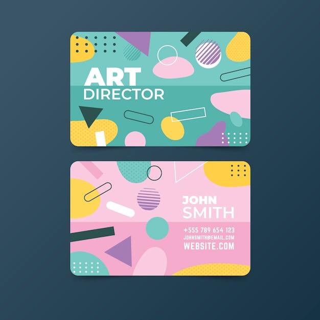 Симпатичные мемфис абстрактный шаблон визитной карточки Бесплатные векторы