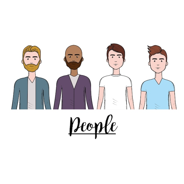 Cute men with hairstyle and different wear Premium Vector