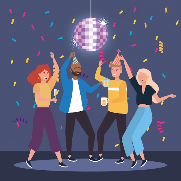 Cute men and women dancing with champagne and beer Free Vector