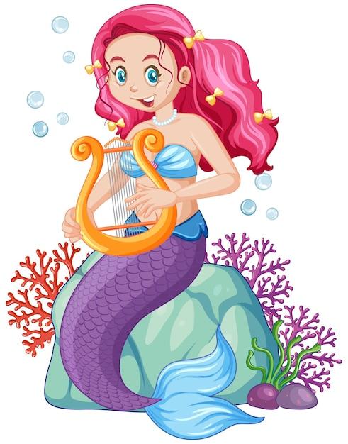 かわいい人魚の漫画のキャラクター 無料ベクター