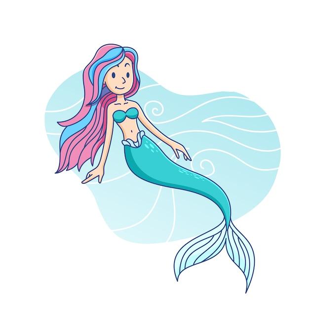 Cute mermaid cartoon children illustration Premium Vector