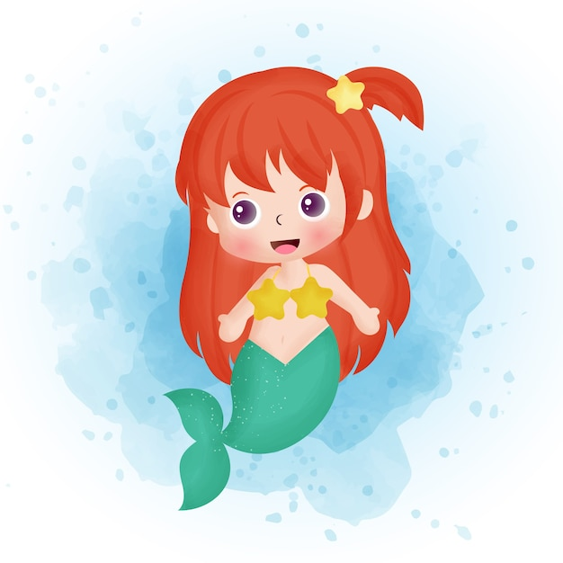 かわいい人魚の漫画の水彩画。 Premiumベクター