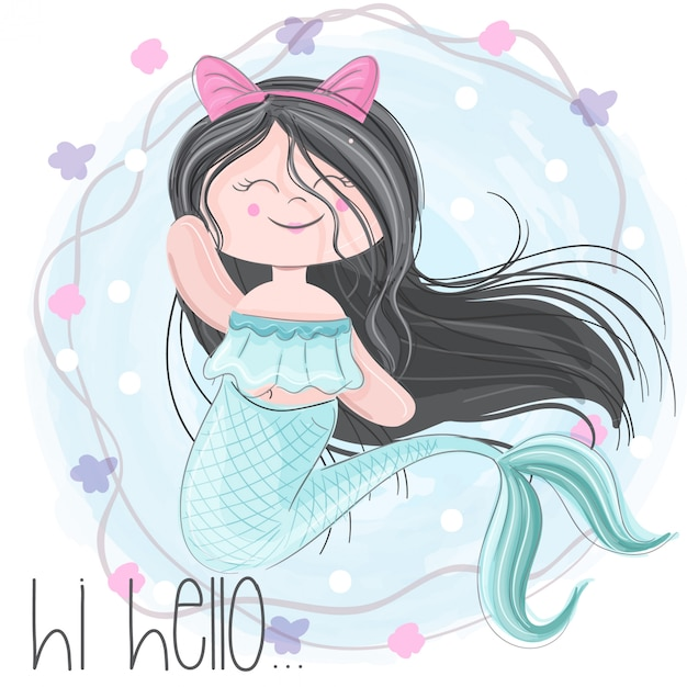 Cute mermaid  hand draw Premium Vector