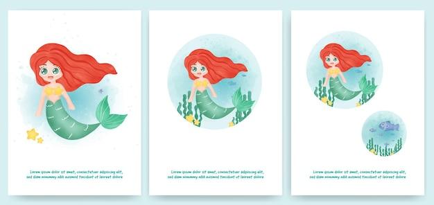 グリーティングカード、誕生日カード、の水の色のスタイルでかわいい人魚 Premiumベクター