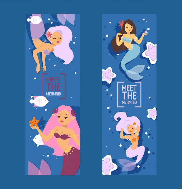 Cute mermaid princesses with colorful hair and other under the sea elements such as starfish, fish and shells set of banners vector illustration for kids artworks Premium Vector