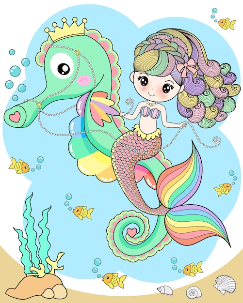 Cute mermaid riding a seahorse Premium Vector