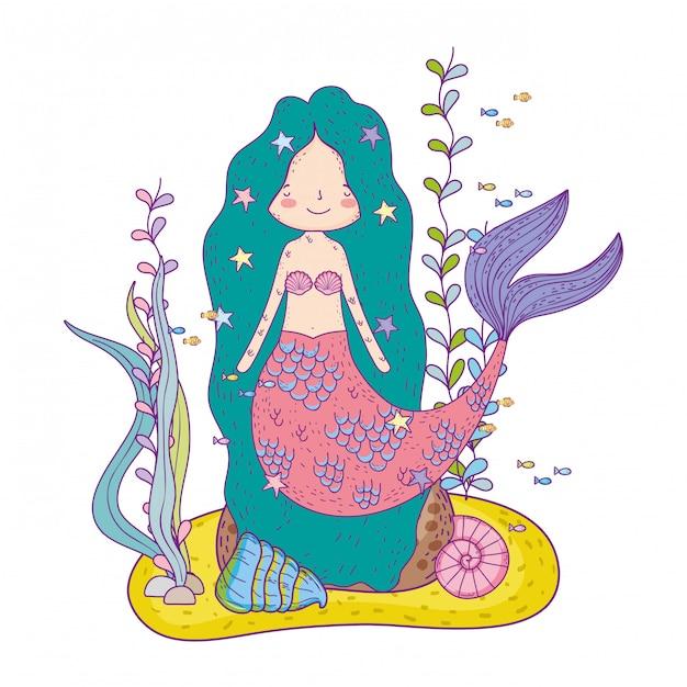 Cute mermaid under sea with seaweed Premium Vector