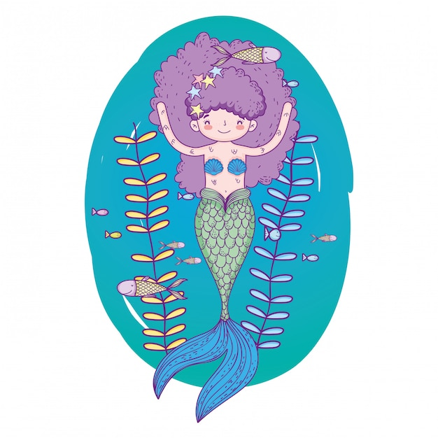 Cute mermaid under sea with seaweed Premium Vector