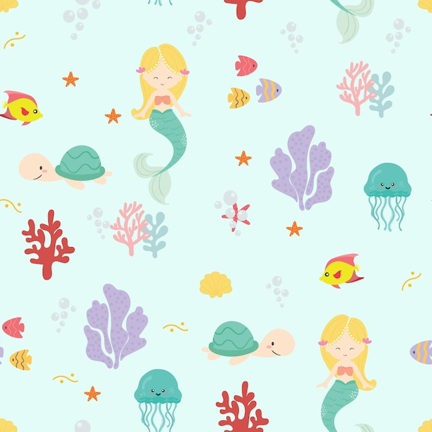 Cute mermaid seamless pattern background vector. Premium Vector
