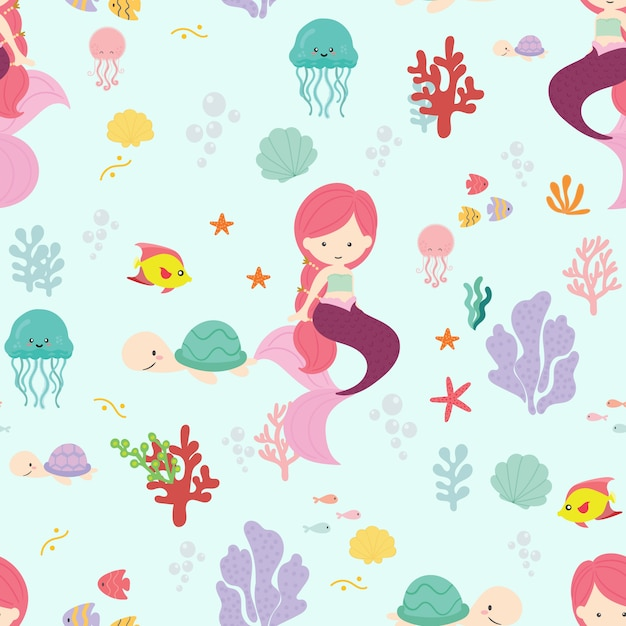 Cute mermaid seamless pattern background vector. Premium Vector