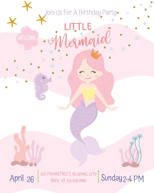 Cute mermaid theme birthday party invitation card vector illustration. Premium Vector