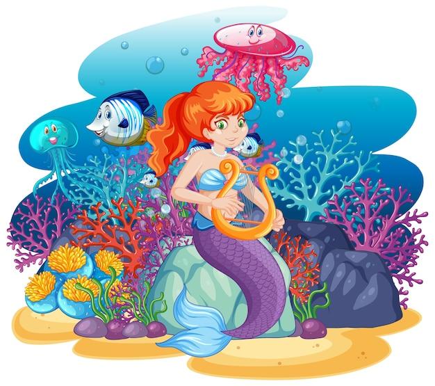 分離された動物の海のテーマシーン漫画スタイルのかわいい人魚 Premiumベクター