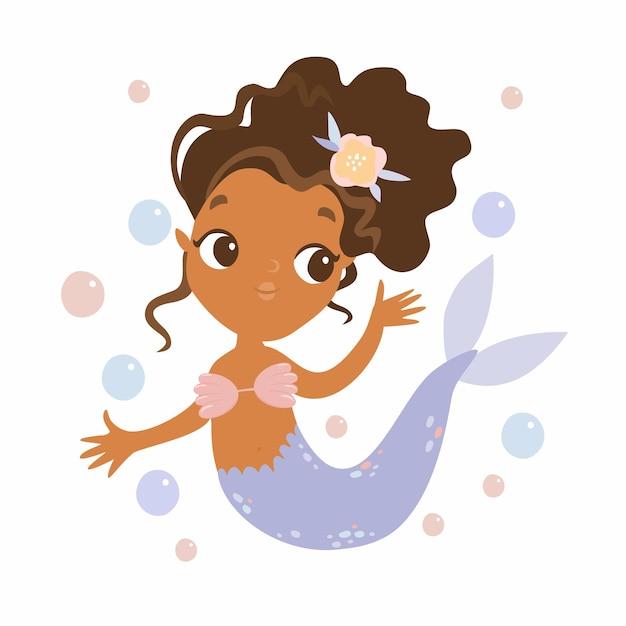 Sirena carina con bolle Vettore gratuito