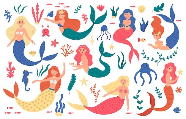 Cute mermaids. princess mermaid characters, hand drawn magic fairy underwater, marine life, mermaid girls and sea elements  illustration set. princess mermaid character, cute girl underwater Premium Vector