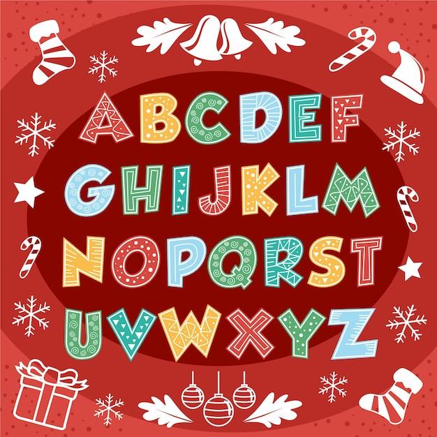 Cute merry christmas alphabet text typography Premium Vector