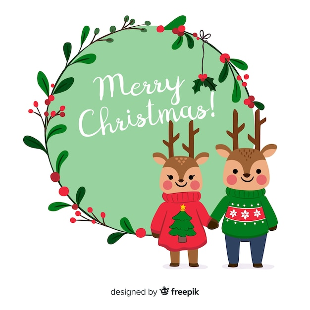 Cute merry christmas background with reindeer couple Free Vector