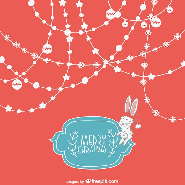 Cute Merry Christmas Background Free Vector