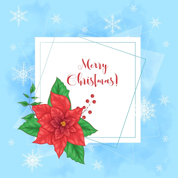 Милая веселая рождественская открытка с венком из пуансеттии Premium векторы