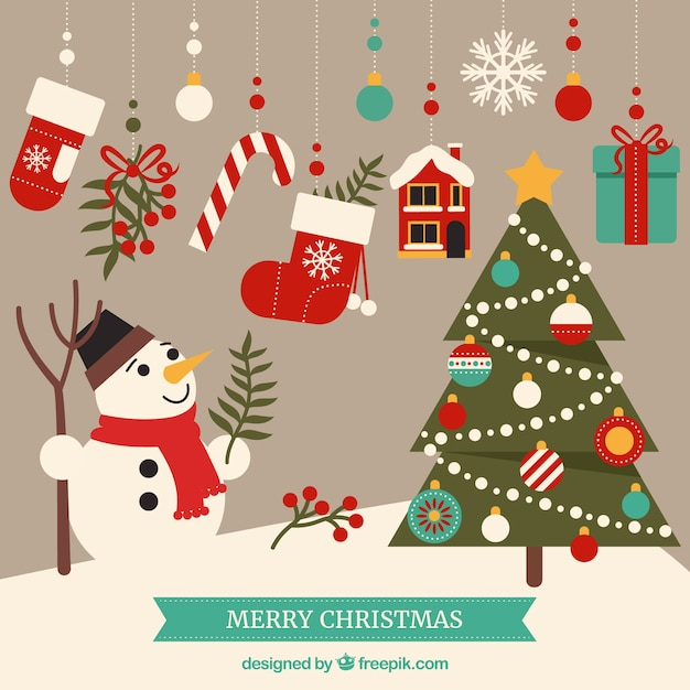 Cute merry christmas elements Vector | Free Download