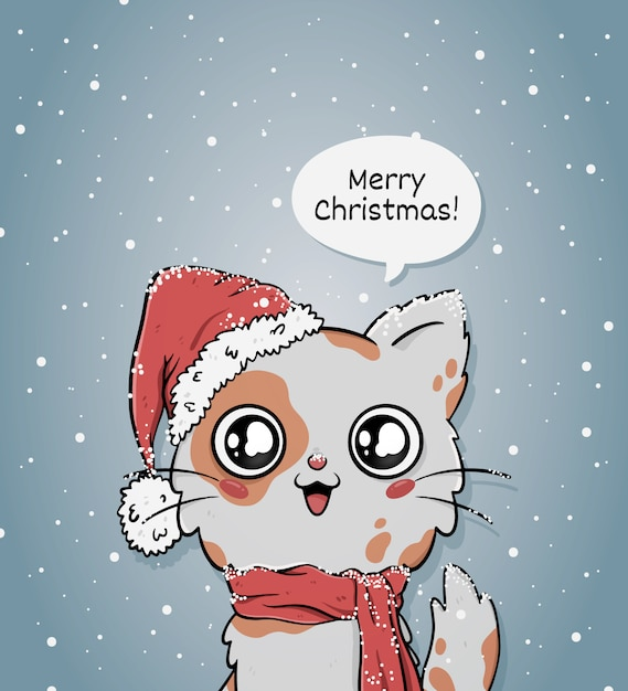 Cute merry christmas greeting card with cat with santa hat Free Vector