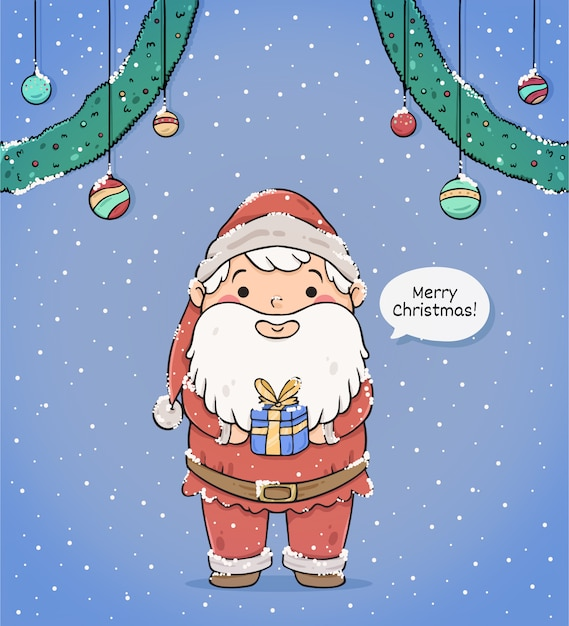 Cute merry christmas greeting card with santa claus Free Vector