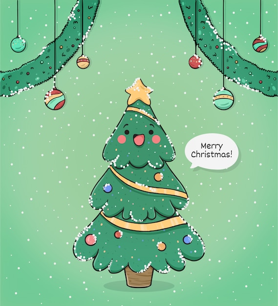 cute merry christmas greeting card with tree 71767 40