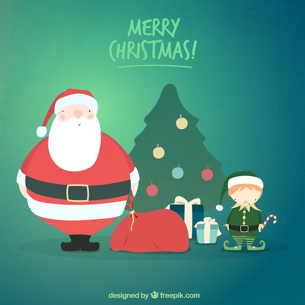 Cute merry christmas illustration background Vector | Free Download