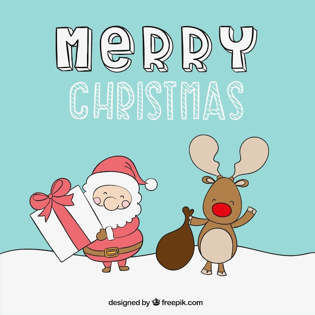 Cute merry christmas illustration Vector | Free Download