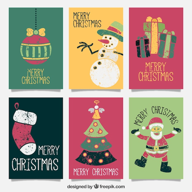Attractive Cute Merry Christmas Vintage Cards Free Vector