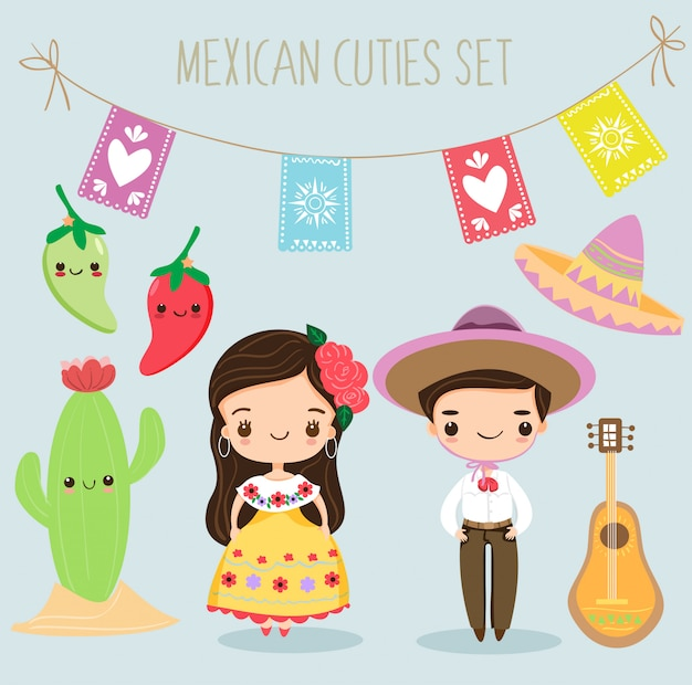 Cute mexican boy and girl with elements set Premium Vector