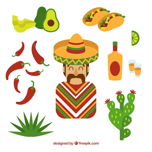 Cute mexican elements Free Vector