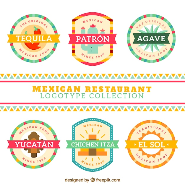 Cute mexican restaurant logos in flat design Free Vector