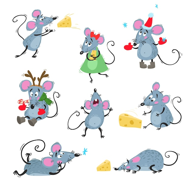 Cute mice in different poses. with cheese, singin, lying, in chistmas hat and reindeer horns. symbol of chinese horoscope.  illustrations. Premium Vector