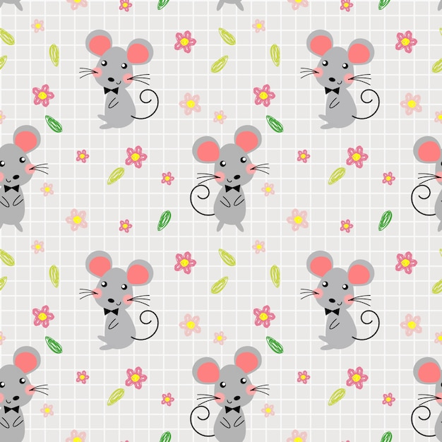 Cute mice and lovely flowers seamless pattern. Premium Vector
