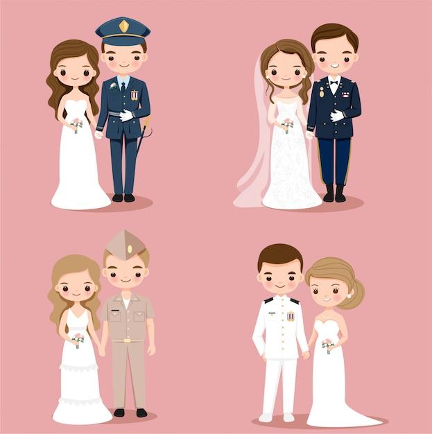 かわいい軍と軍のカップル漫画のキャラクター Premiumベクター