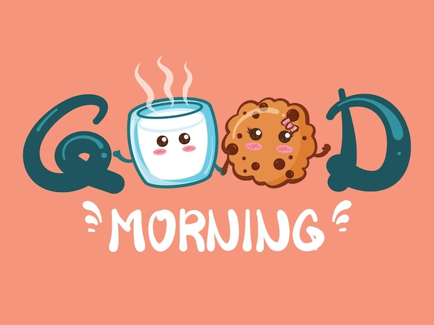 Cute milk glass and cute cookies good morning concept. cartoon Premium Vector