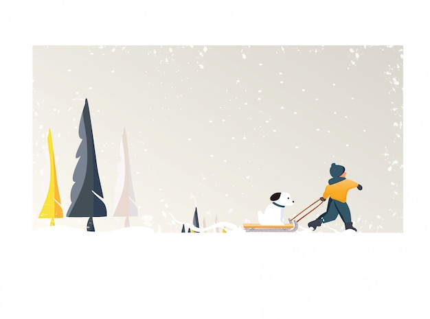 Cute minimalist vector of winter season.panoramic snowey winter landscape with happy kid drag a dog on sleigh .pine tree and white snow with yellow foliage and deciduous forest Premium Vector