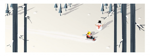 Cute minimalist vector of winter season.panoramic snowey winter landscape with happy kid riding on sleigh.pine tree and snowman shadow laid on white snow with yellow foliage and deciduous forest. Premium Vector