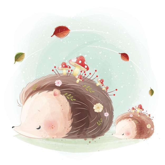 Симпатичная мама и маленький ежик с растущим грибом на теле Premium векторы