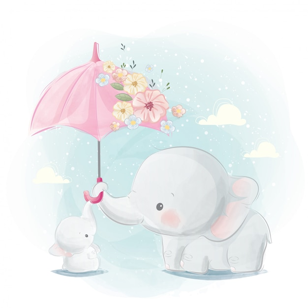 Cute mommy and baby elephant Premium Vector