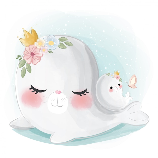 Cute mommy and baby seal Premium Vector