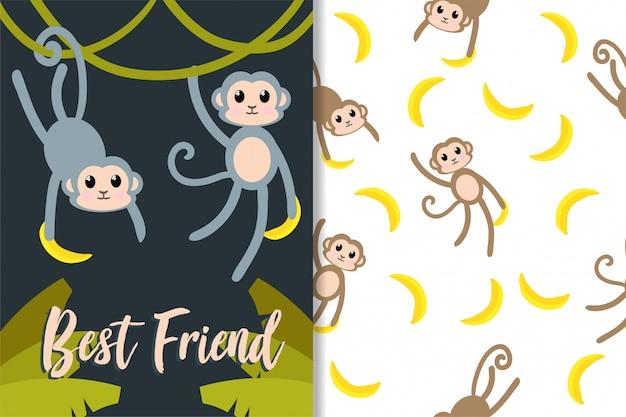 Cute monkey animal hand drawn pattern set Premium Vector