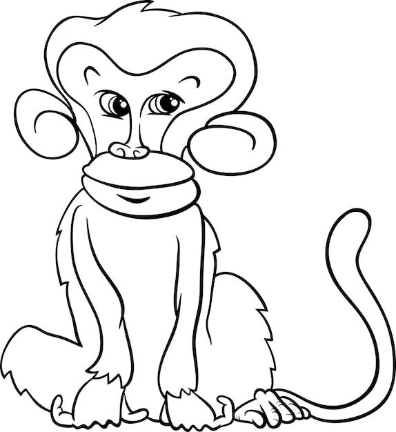 Cute Monkey Cartoon Coloring Page Vector Premium Download